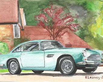 Mint Green Aston Martin DB MK3 1958 Original watercolour painting Art DecorationRetro Car