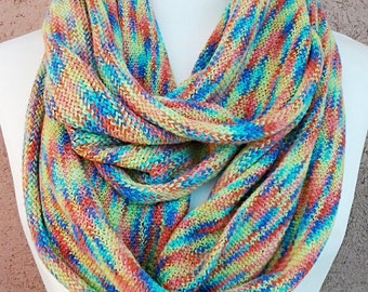 Multi Colored  Infinity Scarf / knitted Scarf / Gift for Her.
