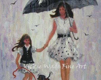 Mother Daughter Art Print, rain girls print, mother daughter paintings, umbrellas, little girl, black and white wall art, Vickie Wade Art