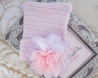 Newborn Hospital Hat, lavender, pink & white stripes with a tri-color petal flower, baby hat, baby shower gift, Lil Miss Sweet Pea Boutique