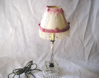 Crystal candlestick lamp with upcycled shabby lamp shade, vintage clear glass lamp, pink cream shade, shabby farmhouse, chic decor
