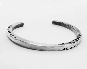 Men's Heavy Silver Cuff, Unisex Silver Bracelet, Silver Anniversary Gift, Gift for Him, Distressed Silver Cuff
