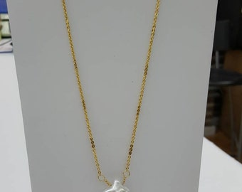 Genuine freshwater Keishi pearl with chain necklace