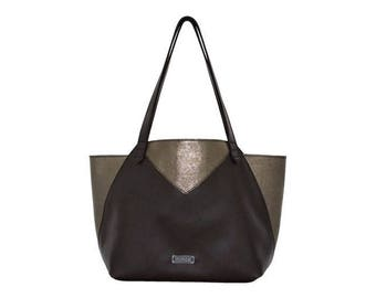 Ledershopper Brown Titanium metallic leather shopping Bag