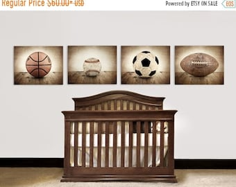 FLASH SALE til MIDNIGHT Vintage Football, Baseball, Soccer and Basektball, Set of Four Sports Balls on Barn Wood Photo Prints,Vintage Sports