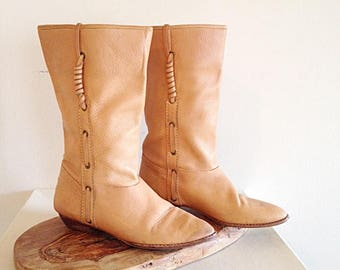 Vintage 1980s Soft Tan Leather Southwest Boho Boots by 9 West Size 7 1/2 or 8