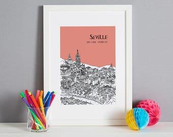 Personalised Seville Print   Unique Wedding Gift   Seville Illustration   Art Print   Engagement Gift   Custom Gift   City Print   Skyline