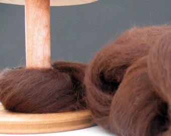 Ecru/Undyed/Natural  Cocoa Dark Chocolate Alpaca colored wool roving, spinning fiber - 3.7  ounces
