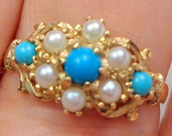 9ct Gold, Turquoise & Pearl Ring, Yellow Gold, Seed Pearl, Victorian Style, Gatsby Era Ring, Vintage Gold Ring, Estate Jewelry