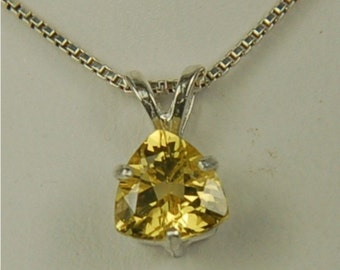 Heliodor Necklace Sterling Silver 7mm Trillion Cut 1.05ct Yellow Solar Power