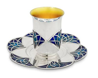 Silver cup and plate set, Shabbat Wine Goblet, Jewish art, Jewish art décor, Judaica gift, Judaica gifts, Nadavart, Wedding, Kiddush cup