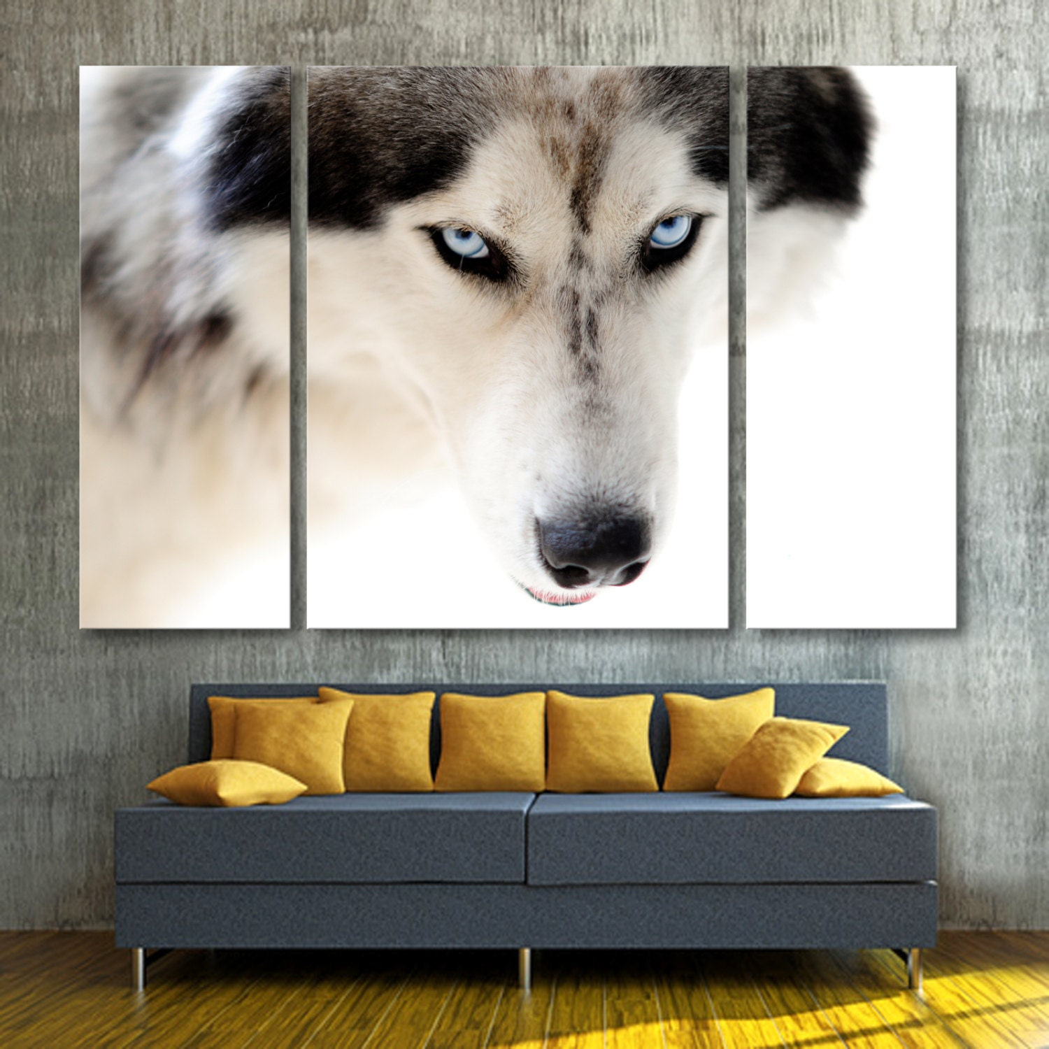 3 Panel Split Canvas Print of Wolf with Blue Eyes Triptych.