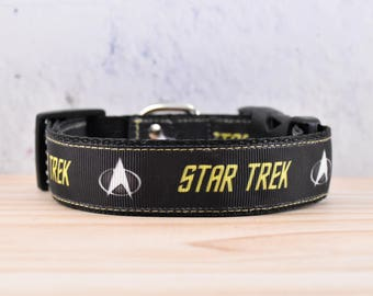 Star Trek Adjustable Dog Collar / Black /  Starfleet / movie / logo / S / M / L / XL