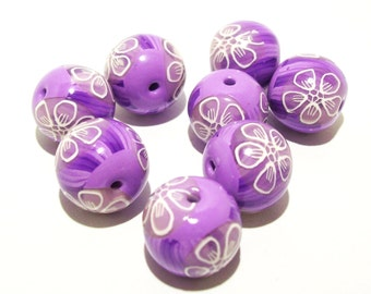 ON SALE NOW Purple and Lavender with White Line Flowers Handmade Polymer Clay Beads