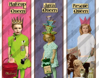 Digital Collage Sheet  1 X 3 Charms and Pendants Queen Images (Sheet no. FS193) Instant Download