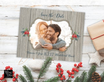 Rustic Winter Save the Date Custom Printable