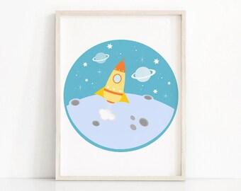 Outer Space Kids Wall Art, Rocket Ship Print, Boys Room Decor, Space Nursery Decor,  Boys Wall Art Print, Childrens Room Art, Kids Art Print
