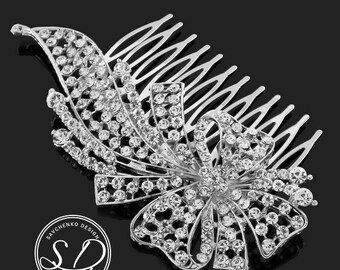 Silver or Gold Bridal Hair Comb Bridesmaids Hair Comb Bride Hair Accessories Vintage Inspired Crystal  Jewelry  Rhinestone Weddings Prom