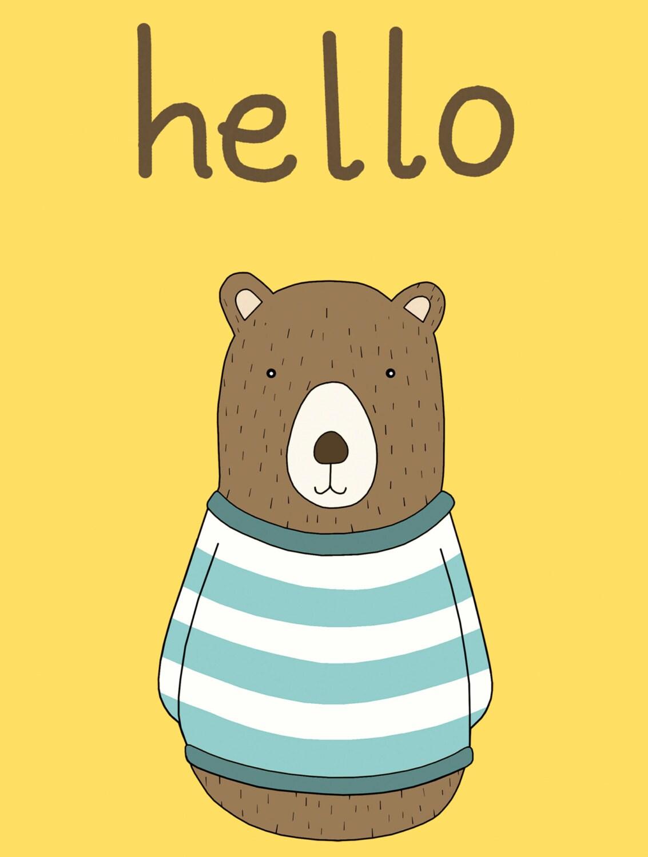 Hello Bear Print Fine Art Print by Kate Durkin Nursery
