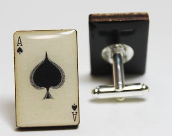 Vintage Ace of Spade Cufflinks | cuff links spades poker deck of cards playing personalized gifts vegas wood laser cut gambler