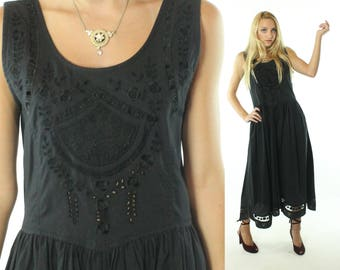 Vintage 90s Lace Sundress Dress Embroidered Cutouts Black Cotton Full Skirt Sleeveless Big Bow 1990s Medium M