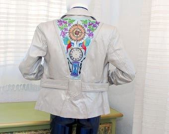 Jacket Hand painted Silver metallic genuine leather jacket structured double breasted metallic women gift personalized vest one of a kind