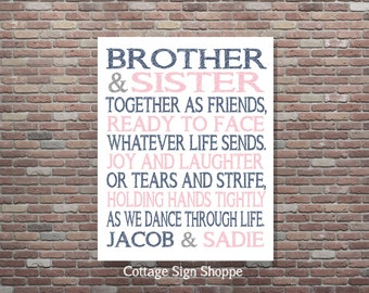 Brother and Sister Together as Friends,DIGITAL, YOU PRINT, Sibling Art,Personalized Brother and Sister Art,Custom Brother and Sister Art
