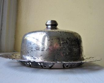 Covered Butter Dish/ Antique Silver Filigree Essay Canada/ E.P. Copper 3913/ Dining Decor