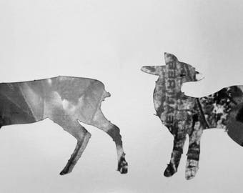 Two baby camo decal deers