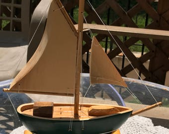 Vintage Green Wooden Sail Boat Nautical Man Cave Decor Country Cottage Lake House Collectible Keepsake Baby Shower Gift Housewarming Gift