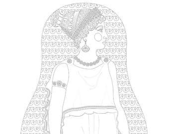 Ancient Greek Matryoshka Coloring Sheet Printable file