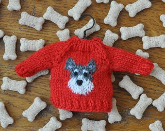 Schnauzer Hand-Knit Sweater Ornament