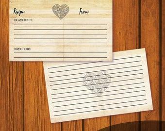4x6 Wedding Recipe Card / Recipe Card / Bridal Shower Recipe Card / Vintage Heart Recipe Card / Instant Download / 3x5 Recipe