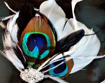 Peacock Feather Hair clip, Bridal Fascinator, Wedding Head Piece, Feather Fascinator, Black and white feather hair clip, Peacock fascinator
