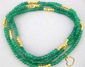 "Gemstone Beaded Chain with Heart Charm -- Finished 18""  Green Onyx and Gold Pyrite 4mm Bead Chain with Gold Lobster Clasp (B-2)"