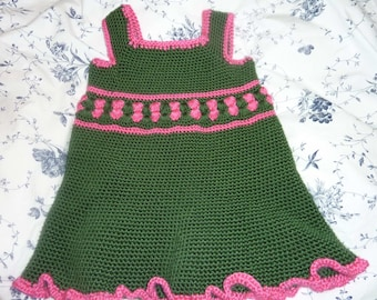 Hand Crocheted Baby Girl Green an Powder Dress Size 3T Old