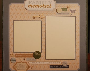 """12X12 premade """"Family Memories"""" scrapbook page"""