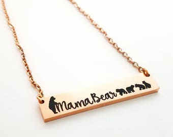 Mama Bear Necklace - New Mom Gift - Mom Jewelry - Mom Necklace - Mama Bear Bar Necklace - Custom Necklace - Mother Gift - Mother Jewelry