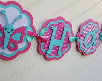 Girls butterfly Birthday banner.  Garden Birthday banner.  Pink and Aqua banner.  Happy Birthday banner.  Name banner.  Butterfly decoration