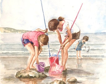 Children fishing in rock pools on the beach original watercolour