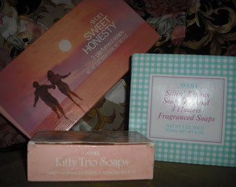 Vintage Avon soap sets one with dish.