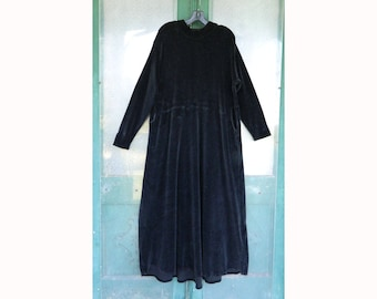 Flax by Jeanne Engelhart Fall Velour 1998 Courtly Clad Dress -L- Black Cotton/Lycra