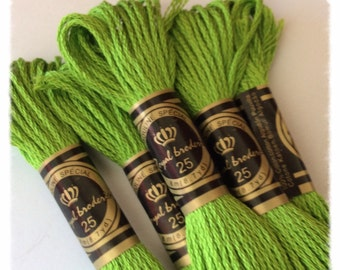 Set of 10 skeins Apple green Mercerized cotton