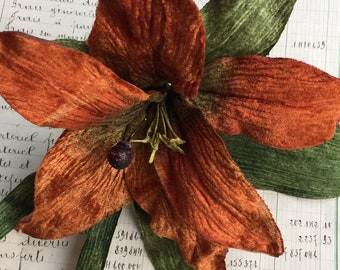 golden velvet tiger lily. velvet lily. antique bronze lily. millinery flowers. millinery couture.