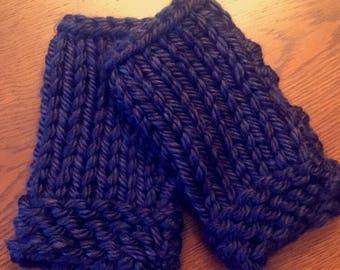 Fingerless Knit Gloves - Navy