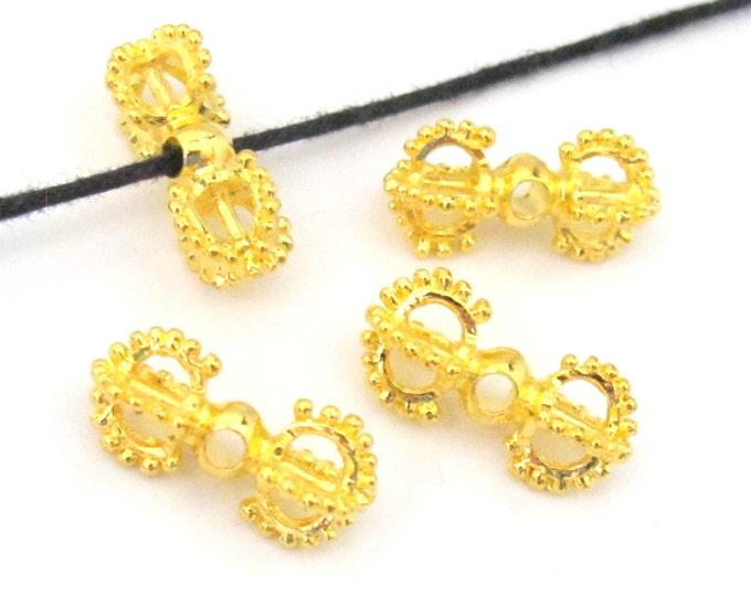 10 BEADS - Beautiful Tibetan gold plated dorje vajra beads mala spacer  - BD581