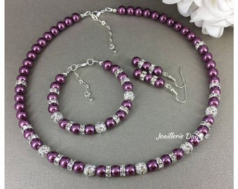 Plum Pearl Jewelry Necklace Bracelet and Earrings Bridesmaid Gift Purple Necklace Wedding Jewelry Maid of Honor Gift for Her Purple Jewelry