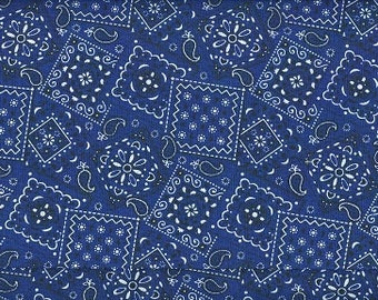 Navy Blue Bandana fabric   100 percent cotton   BTY