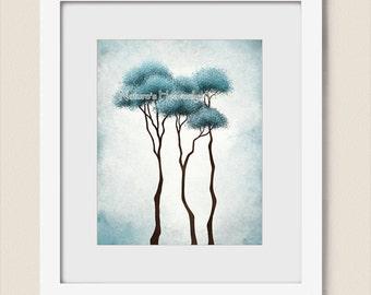Blue Aqua Wall Art for Home or Office, 8 x 10 Tree Art Print, Dark Blue Wall Decor, Living Room Decor, Tree Artwork for Room (192)