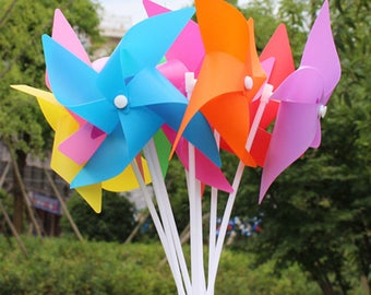 50pcs/lot 100pcs/lot Carnival Pinwheels Templates DIY Four leaves windmill solid color shooting activitie decorative windmill children's toy